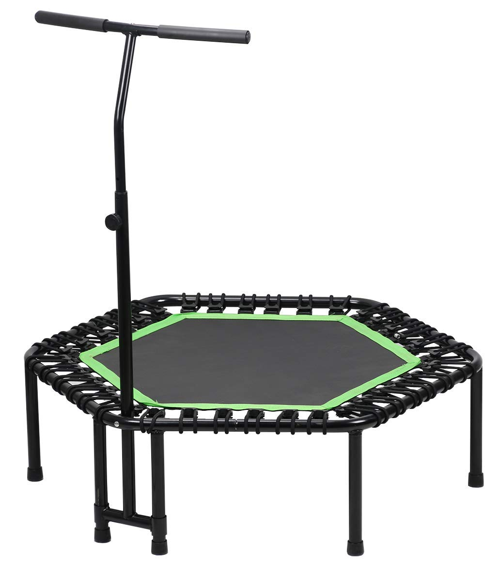 LANGXUN 46'' Mini Trampoline with Adjustable Handrail Bar - Fitness Trampoline for Aerobic Exercise Training and Lose Weight and Weight Control, Max Limit 250 lbs