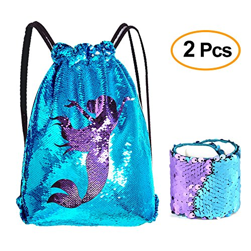 KUUQA Sequin Mermaid Drawstring Backpack Bag with Wristband Bracelet ,Magic Reversible Sequin Glitter Gym Shoulder Bag for Women Kids Girls Boys Birthday Party Favors Gifts (Blue Purple)