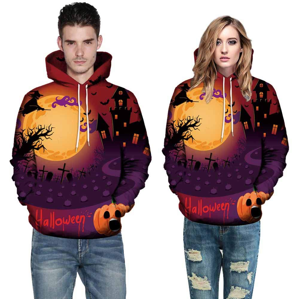 Women Men Tops Long Sleeve O-Neck 3D Print Halloween Couples Drawstring Hoodies Sweatshirt Pullover (XXXXXL, Orange 1497) by OCASHI