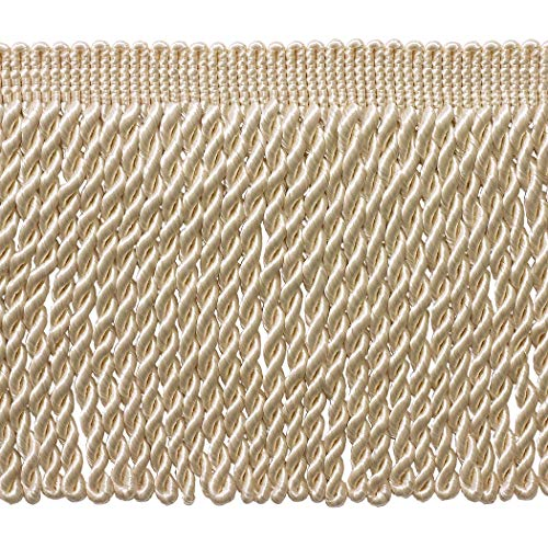 (DÉCOPRO 5 Yard Value Pack - 6 Inch Long Ivory/Ecru Bullion Fringe Trim, Style# BFS6 Color: A2 (15 Ft / 4.5 Meters))