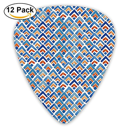 Newfood Ss Geometric Chevron Repeating Pattern In Watercolor Style Abstract Artwork Guitar Picks 12/Pack Set