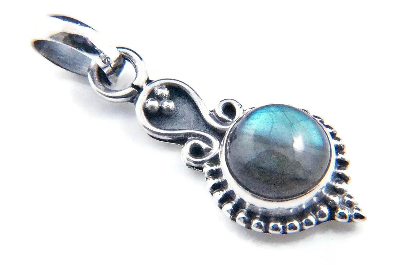 Kettenanhänger Medaillon Silber 925 Sterlingsilber Labradorit Stein 11 mm x 31 mm (MAH 72) mantraroma