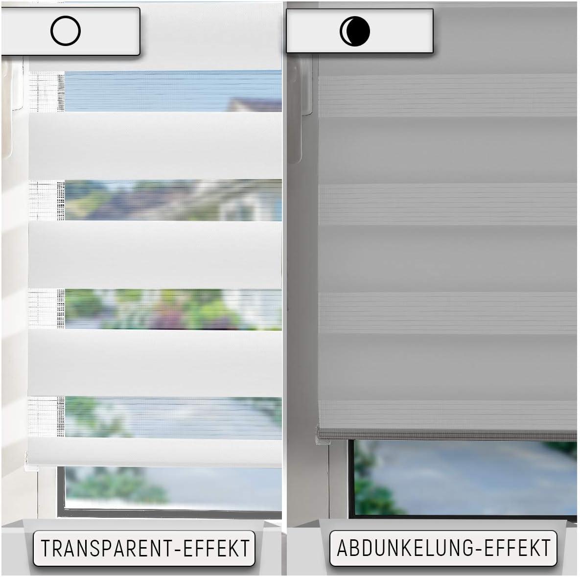 Wei/ß, B65cm x H120cm Lichtdurchl/ässig und Verdunkelnd Rollos f/ür Fenster /& T/üren. Fenster Duo Rollo Sicht und Sonnenschutz OUBO Doppelrollo Klemmfix ohne Bohren mit Klemmtr/ägern