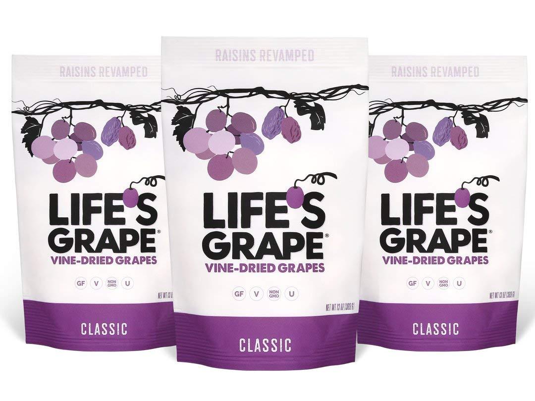 Life's GrapeVine Dried Grapes- Classic| Raisins Revamped | All Natural Fruit Snacks for KidsandAdults |Seedless GrapesNo Sugar Added |Kosher,Vegan,Soy& GlutenFree | 3 13oz Bags