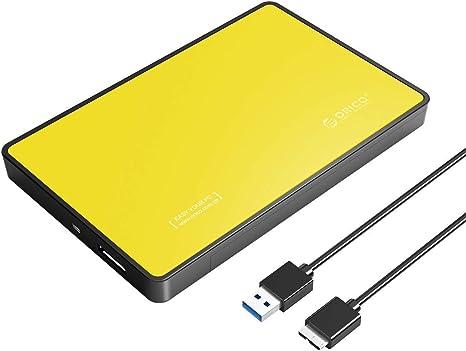 ORICO Caja Externa Disco Duro/SSD 2,5 USB 3.0, Libre de Herramientas para SATA HDD/SSD de 9.5mm y 7mm con Led Indicador y Capacidad hasta 4TB (Amarillo): Amazon.es: Electrónica