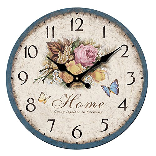 YeYo Simple European Style Flowers Wall Clock Frameless Wooden MDF Waterproof Silent Art Decor for Home Living Room Office Decoration (12inch)
