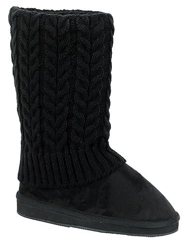 U9A1011S Women's Winter Boots Knit Sweater Faux Suede Crochet Mid Calf Fleece Lining Rib Warm Colors Shoes Black Grey Tan Brown