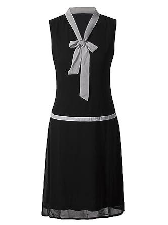 ae46dbbc816 Vijiv Womens 1920s Midi Flapper Dress V Neck Grey Bow Roaring 20s Great  Gatsby Dress at Amazon Women s Clothing store