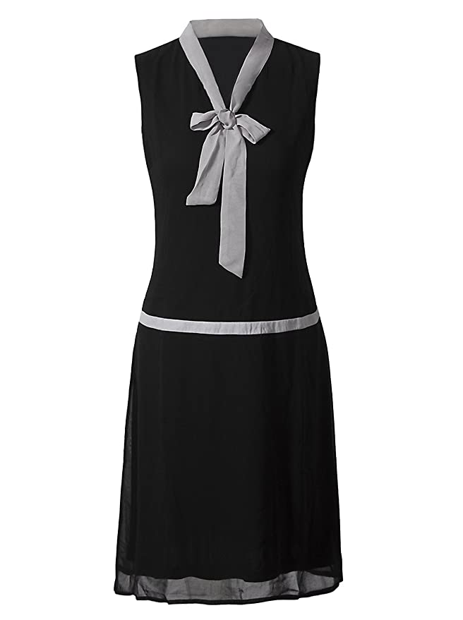 Roaring 20s Costumes- Flapper Costumes, Gangster Costumes VIJIV Womens 1920s Midi Flapper Dress V Neck Grey Bow Roaring 20s Great Gatsby Dress $29.99 AT vintagedancer.com
