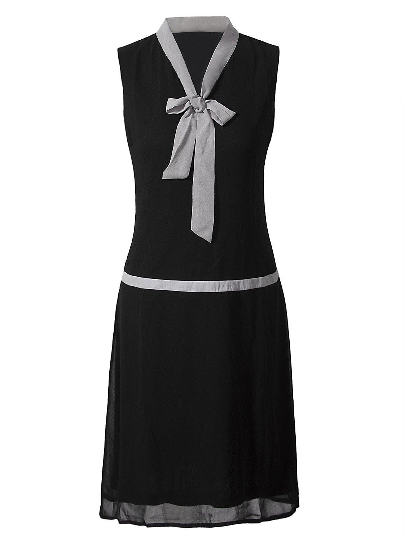Vijiv Women Vintage 1920s Clothing V Neck Bowknot Roaring 20s Flapper Party Dress Prom,Large,Black