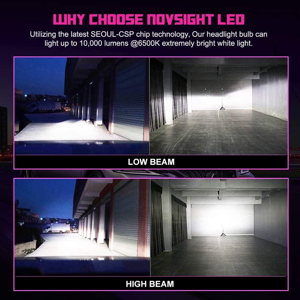 2Pcs 10000LM 50W Car Headlight Bulbs Conversion Kit LED Headlight Bulb White 6000K NOVSIGHT 9005 Super Bright Waterproof Replacement for Halogen Headlight HB3//H10