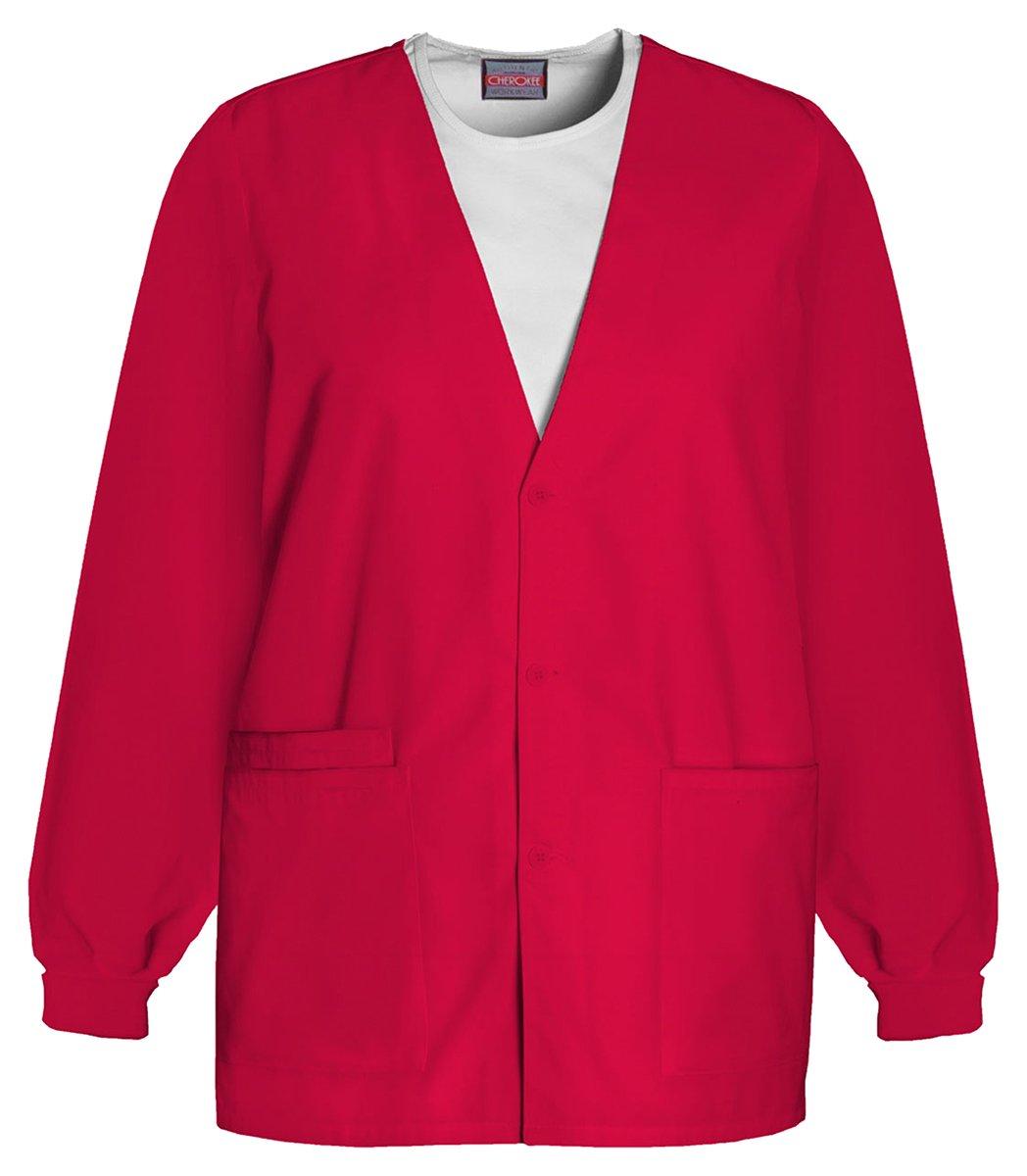 Cherokee Workwear Women's Cardigan Warm-up Jacket_Red_Large,4301