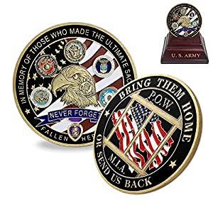 Proud Military Family Challenge Coin US Liberty Eagle POW MIA Army Coin Collectibles by Indeep