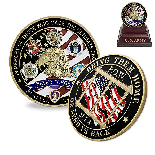 (Proud Military Family Challenge Coin US Liberty Eagle POW MIA Army Coin Collectibles)