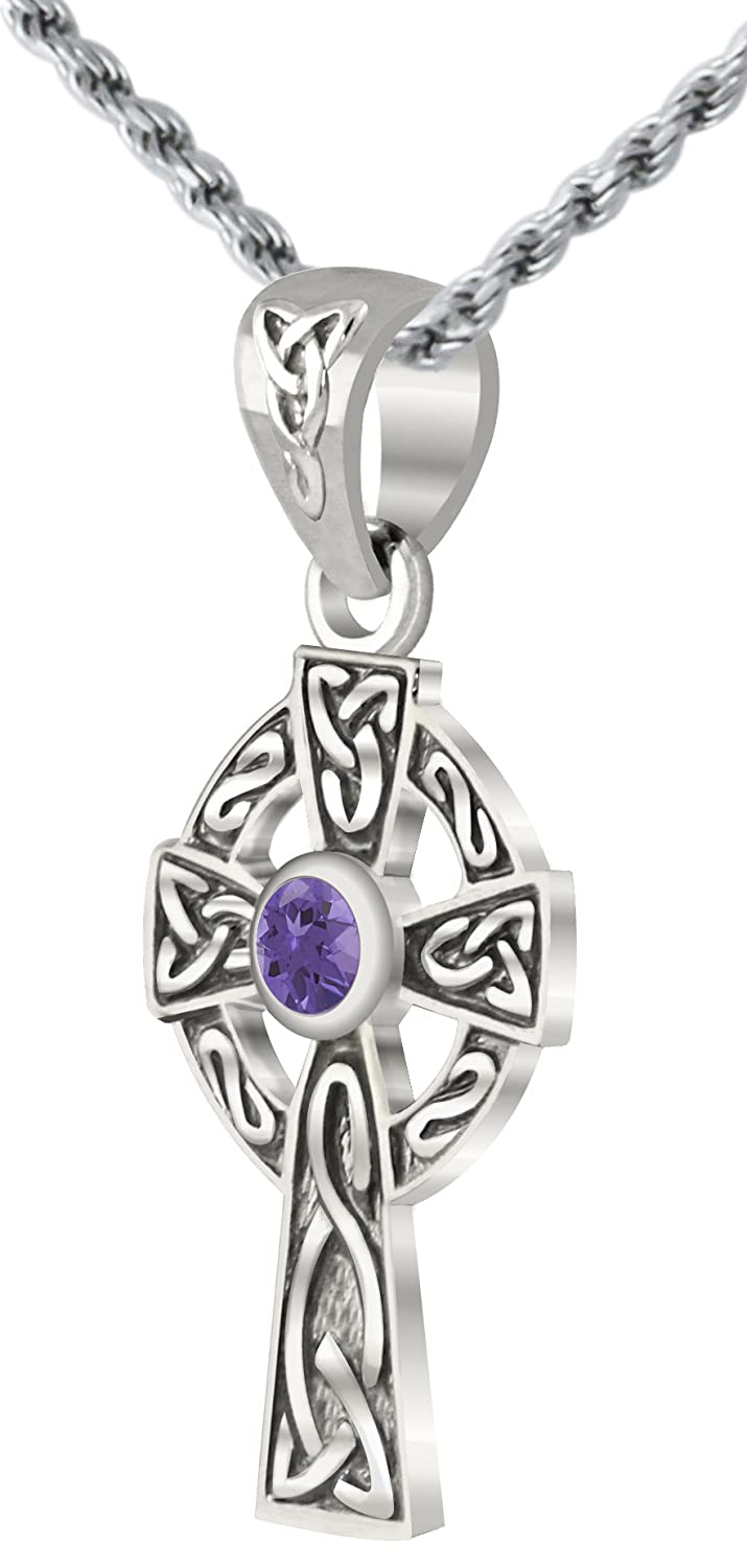 US Jewels And Gems Small 0.925 Sterling Silver Irish Celtic Knot Cross Simulated Alexandrite Pendant Necklace