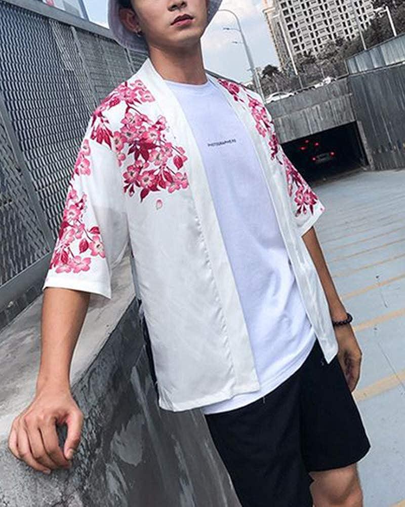 Hommes Kimono Chemise Japonais Manteau Veste Impression Manche 3//4 L/âche Cardigan