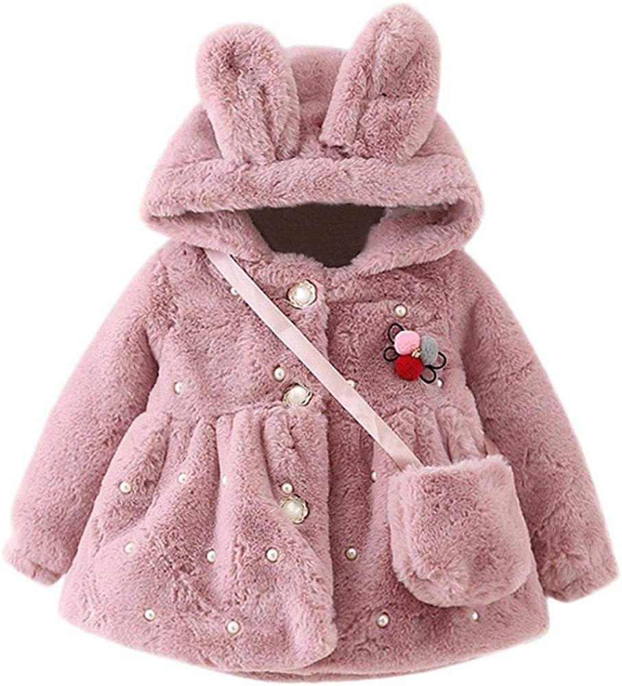 Newborn Baby Girls Faux Fur Coat Thick Fluff Warm
