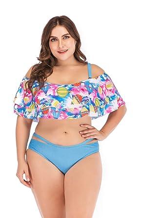 a285eae018b ESPRLIA Women's Plus Size Swimwear Floral Printed Halter Two Pieces Tankini  Set Swimsuits (Sky Blue