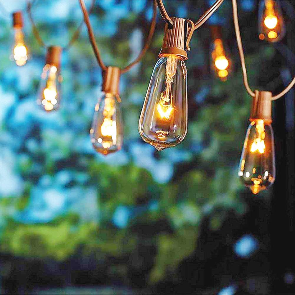Monkeydg 20FT String Lights ST40 Outdoor Patio Edison String Lights with 20 ST40 Edison Clear Bulbs (Plus 1 Extra Bulbs) -7 Watt/120 Voltage/E17 Base -Brown Wire