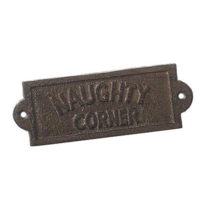 00741df3d7cc Small Cast Iron Garden Patio Wall Plaque Sign NAUGHTY CORNER  Amazon ...