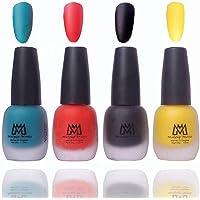 Makeup Mania Premium Nail Polish Velvet Matte Nail Paint Combo (Blue, Red, Black, Yellow, Pack of 4)