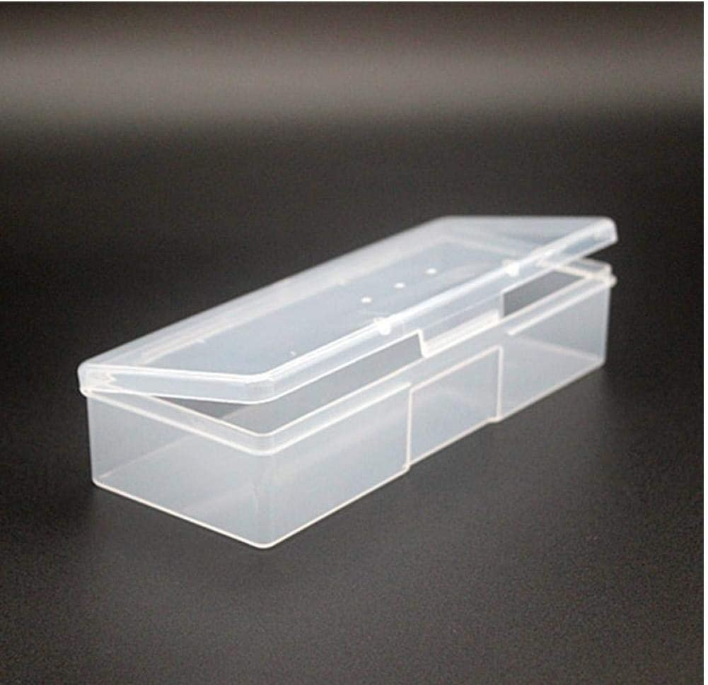 Dorime Caja de Almacenamiento de Herramientas Caja de Almacenamiento de uñas de manicura de uñas Transparente de plástico salpicado tiralíneas tampón para pulir Cuadro contenedor de Archivos