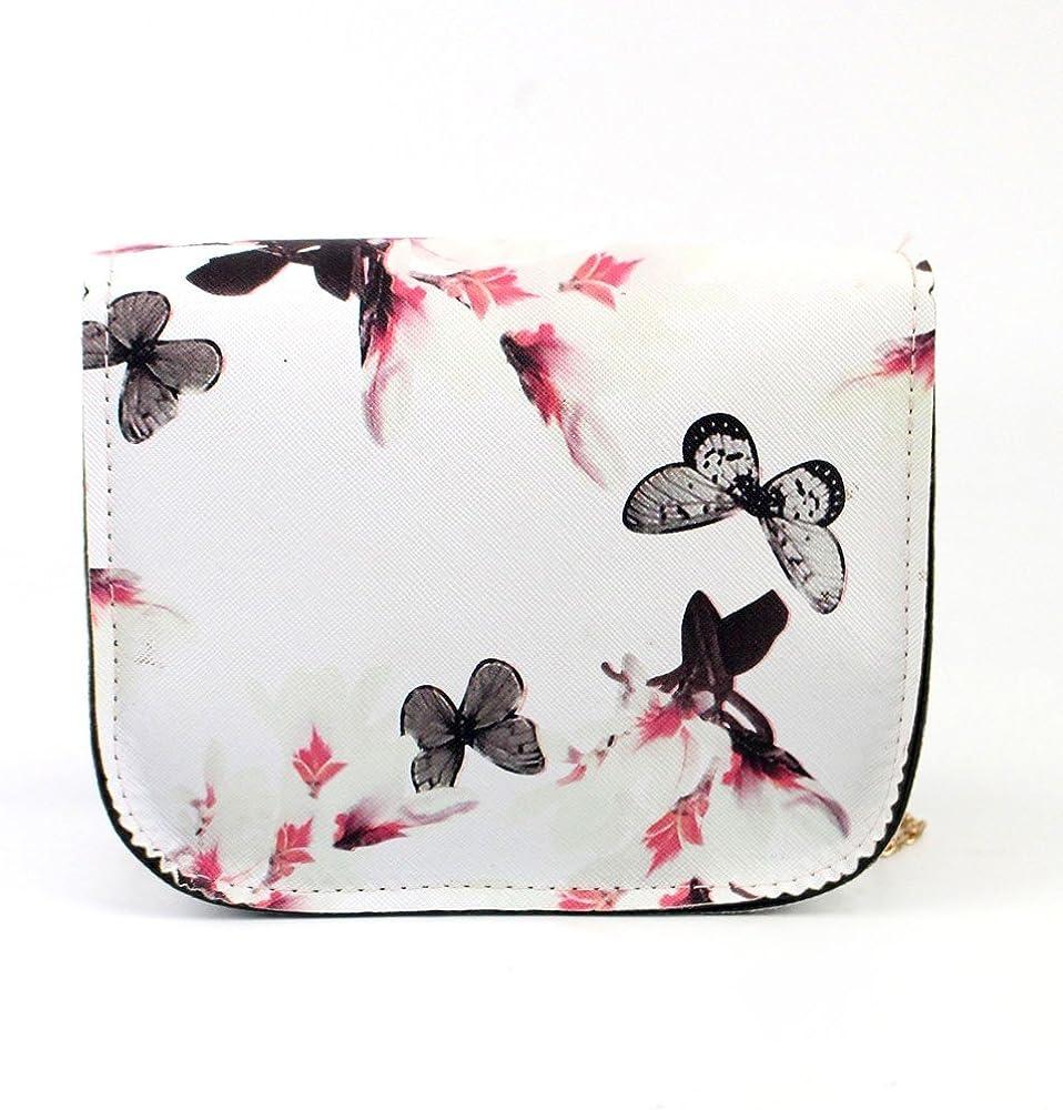 Rose ESAILQ Sac /à Bandouli/ère Femme Petit Sac de Messager Imprim/é Fleur Papillon Sac /à Main