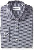 Robert Graham Men's Veneto Regular Fit Dot Dress Shirt, Navy, 16'' Neck 35'' Sleeve