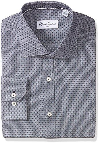 Robert Graham Men's Veneto Regular Fit Dot Dress Shirt, Navy, 16'' Neck 35'' Sleeve by Robert Graham
