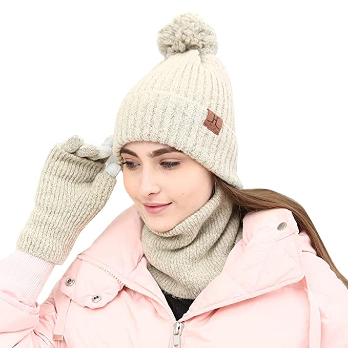 276b34b7d Amazon.com: 3 Piece Beanie Pompom Hat Scarf and Touch Screen Gloves ...