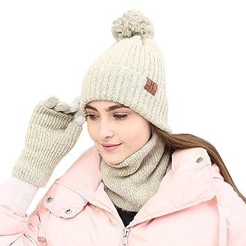 Amorar Chapeau d hiver Bonnet tricoté Bonnet écharpe Gants Ensembles  Slouchy Snow Skull Cap Écharpes 04d41288731