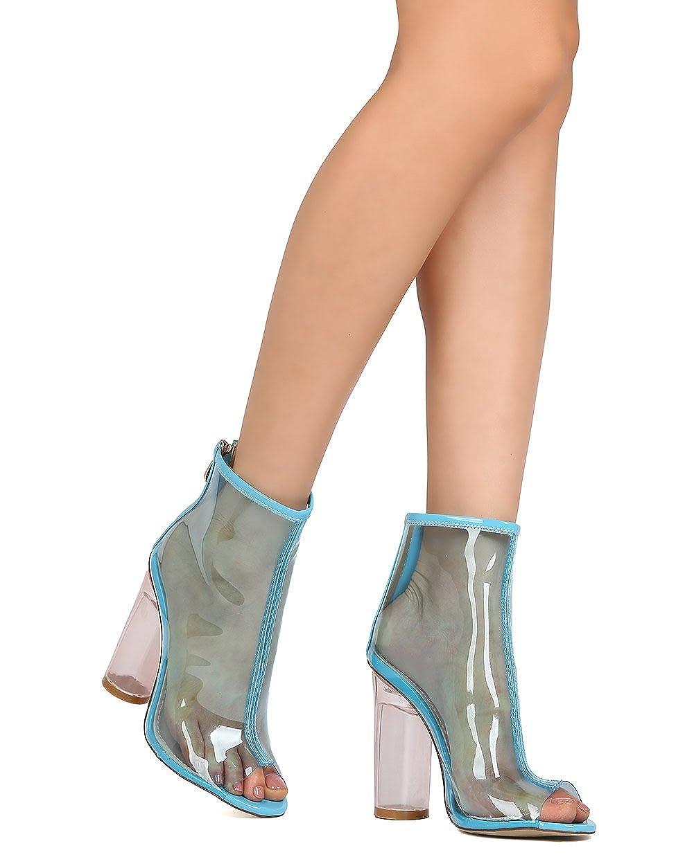 47cff01dba1 Amazon.com | Cape Robbin Women PVC Peep Toe Circular Lucite Heel ...