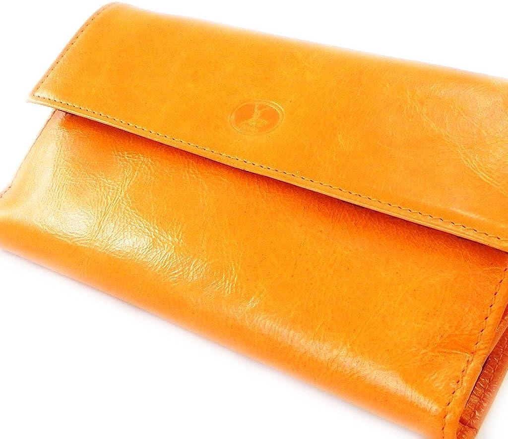 Wallet checkbook holder leather Frandi orange black lacquer.