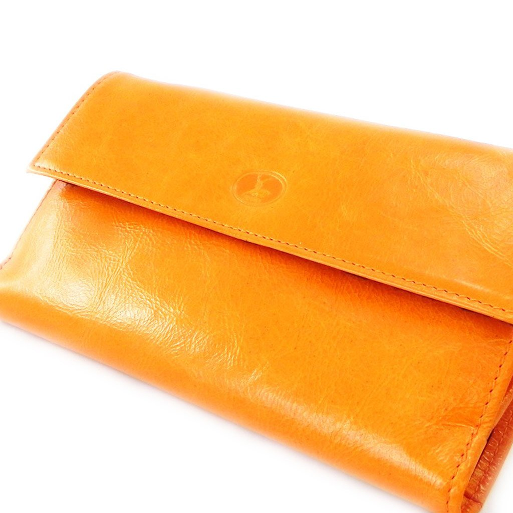 Wallet + checkbook holder leather ''Frandi'' orange black lacquer. by Les Tresors De Lily (Image #3)