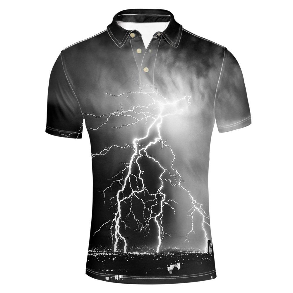 HUGS IDEA Cool Lightning Print Men's T Shirt Classic Golf Polos T-Shirt Summer Short Sleeve Button Down Tees