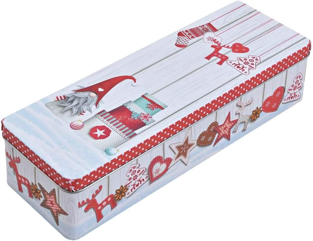 Kamaca in lamiera con coperchio in metallo//latta Set di 3 contenitori per biscotti// portabiscotti decorativi componibili rotondi pratici ed eleganti per linverno