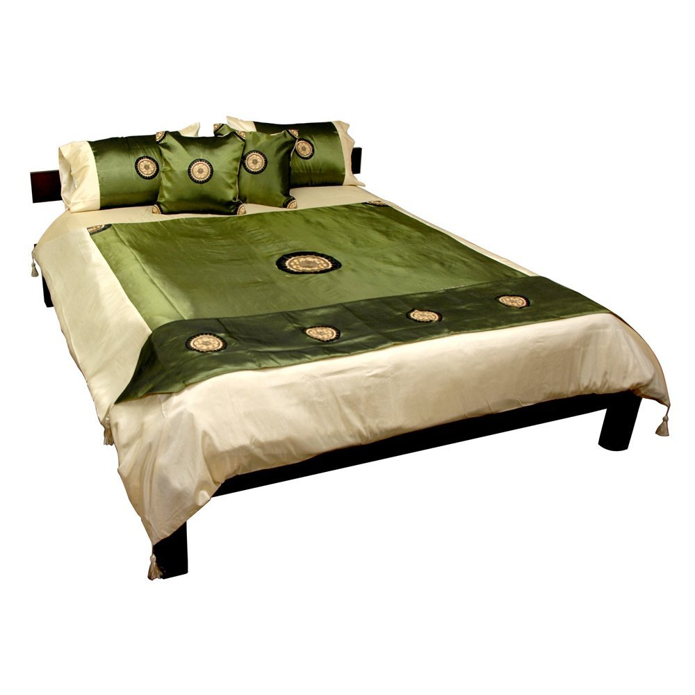 Oriental Furniture Thai Silk Medallion Duvet Set - Jade - Queen