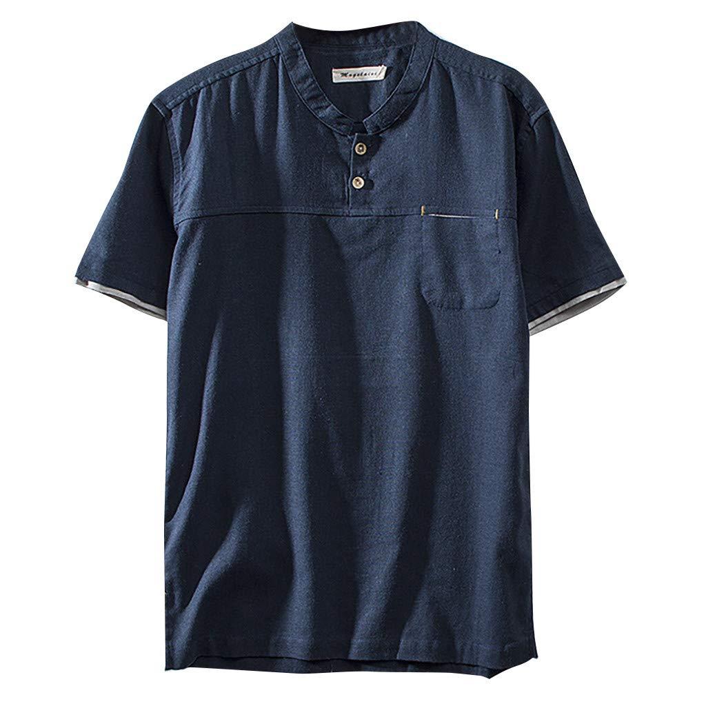 Men's Cotton Shirt, Sharemen Linen Solid Color Short-Sleeved V-Neck Retro T-Shirt with Buckle Top(Navy,4XL)
