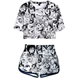 Women's Ahegao Face Print 2 Piece Outfits Crop Top and Shorts Pajamas Set XS-2XL