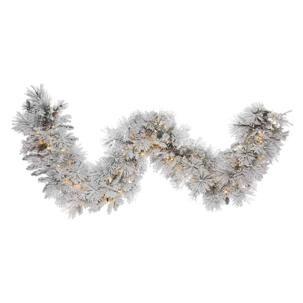 Vickerman Flocked Alberta Artificial Garland with Artificial Pine Cones and 150 Warm White LED Lights, 9' x 18''