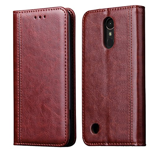 LG K20 Plus Case,LG K20 V Case,LG K10 2017/LG Harmony/LG Grace/LV V5 Case,CH-IC Luxury Leather Wallet Flip Protective Case Cover with Card Slots,Kickstand,Magnetic Closure (Brown)