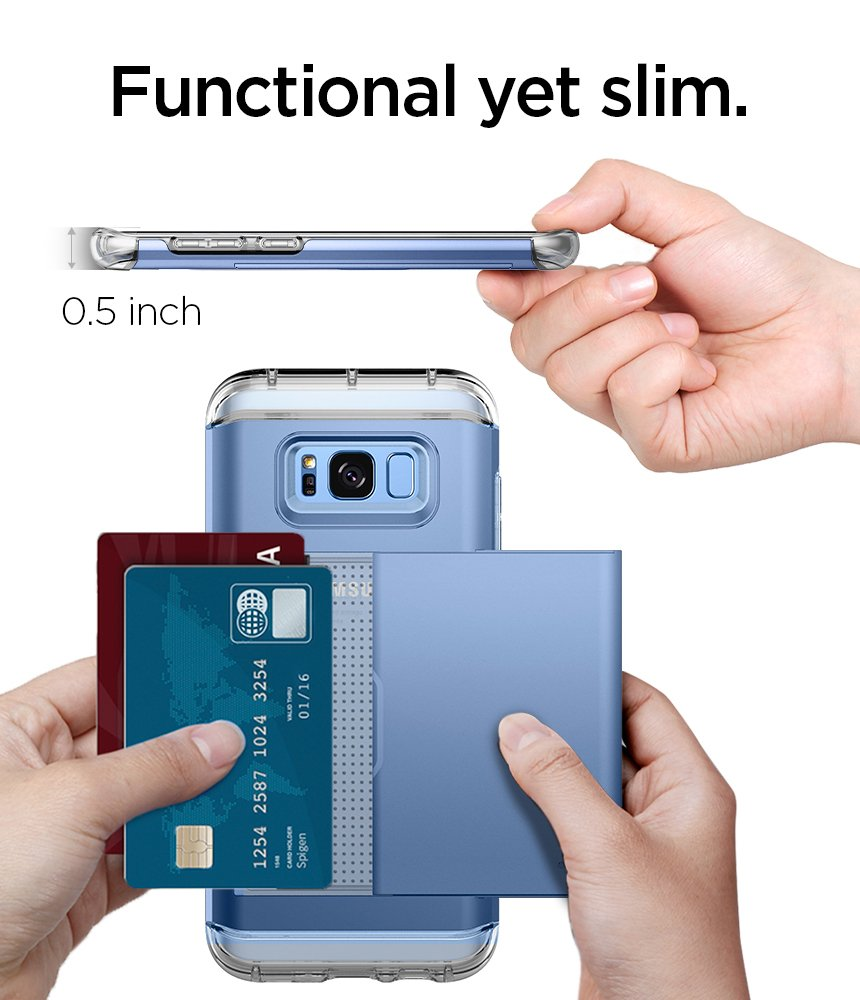 Spigen Crystal Wallet Galaxy S8 Case with Slim Dual Layer Wallet Design and Card Slot Holder for Galaxy S8 (2017) - Coral Blue by Spigen (Image #7)