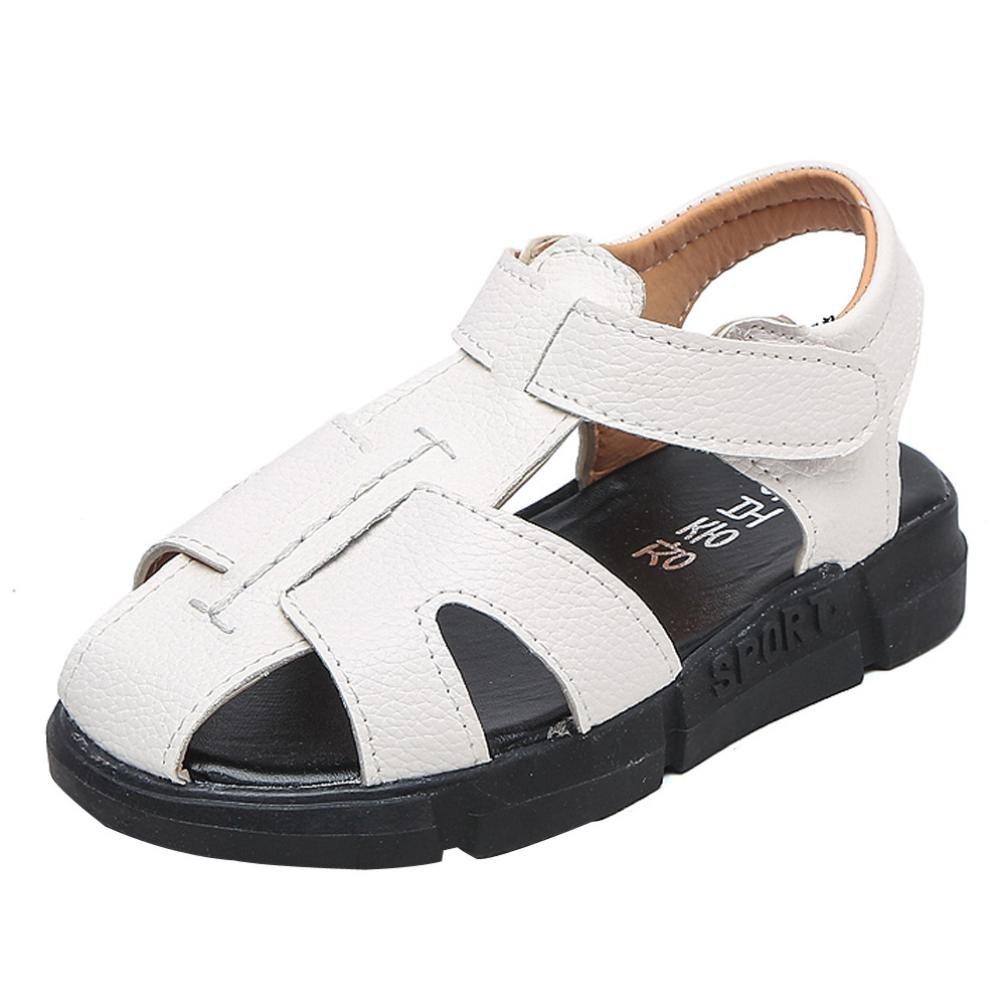 Hometom Boy's Girl's Leather Closed Toe Outdoor Sport Sandals (Toddler/Little Kid/Big Kid) (White, Age:6-6.5T)