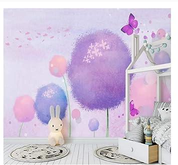 Papel tapiz, mural, papel tapiz de material impermeable de alta calidad, fantasía de dibujos animados, lindo televisor de color rosa de fondo, habitación para niños niña: Amazon.es: Bricolaje y herramientas