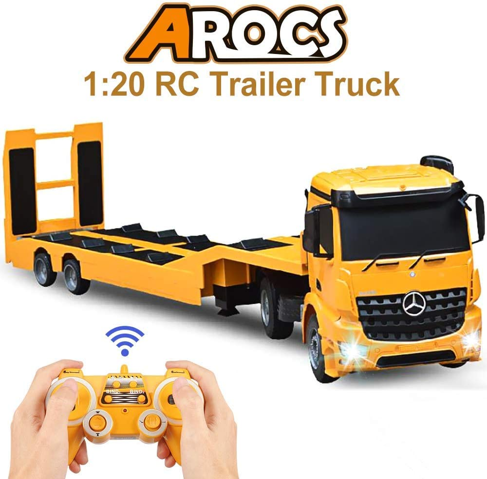 Amazon Com Double E Rc Tow Truck Licensed Mercedes Benz Acros Detachable Flatbed Semi Trailer Engineering Tractor Remote Control Trailer Truck Electronics Hobby Toy With Sound And Lights Toys Games