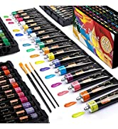 Acrylic Paint Set,Shuttle Art 66 Colors 22ml/Tube with 3 Brushes,Professional Quality,Rich Pigmen...