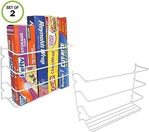 Evelots Wall/Door Mount Kitchen Wrap Organizer Rack-Space Saver, White, Set/2