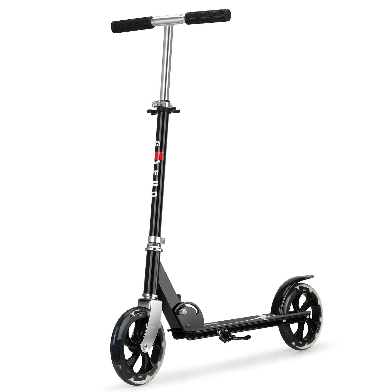 Fascol Scooter para Dos Ruedas para Adultos Adecuado para niños Mayores de Cinco años Patinete Plegable para Kick Máxima Carga 75 kg, Negro