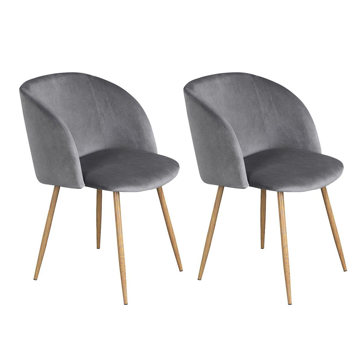 2er Silky Samt Akzent Sessel Für Kleine Küche Esszimmer Büro Stühle Sessel  Grau