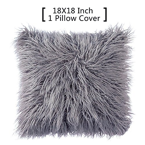 Price comparison product image Faux Fur Throw Pillows Covers - FURTALK Decorative Grey Pillow Case Cushion ,18 x 18 Inch (One Gray Pillow Cover without inset)